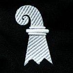 Baslerstab auf Bauchtasche gestickt