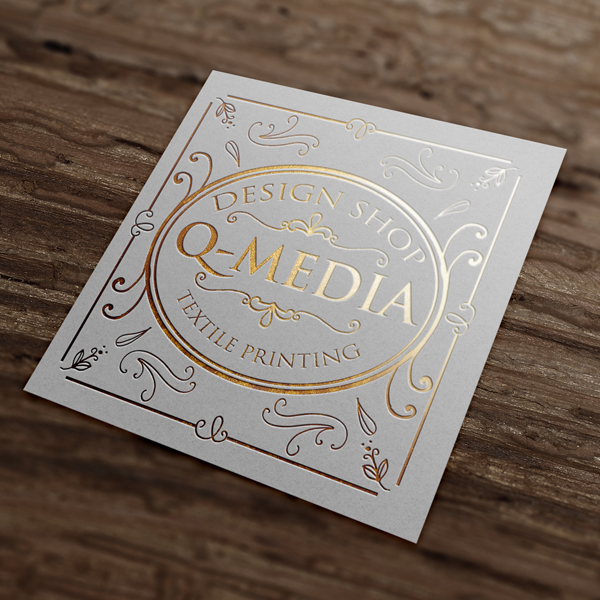 Quadratische Visitenkarte Mit Goldprägung Q Media Gmbh Q